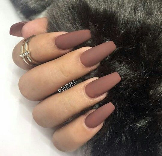 coffin nails brown photo - 2
