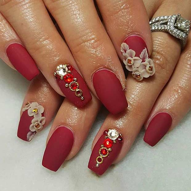 coffin nails designs red photo - 1