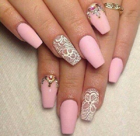 Coffin nails light pink - Expression Nails