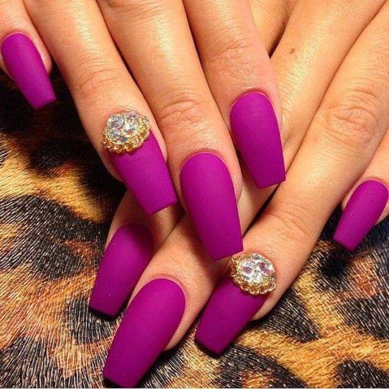 coffin nails long purple photo - 2