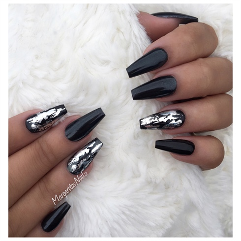 coffin nails matte black and silver photo - 2
