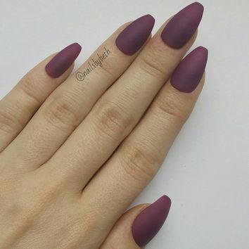 coffin nails matte purple photo - 2