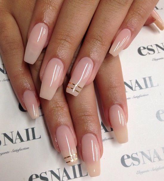 Coffin nails natural colors - Expression Nails