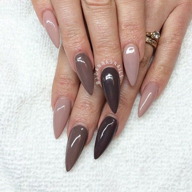 coffin nails nude brown photo - 2
