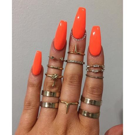 coffin nails orange photo - 2