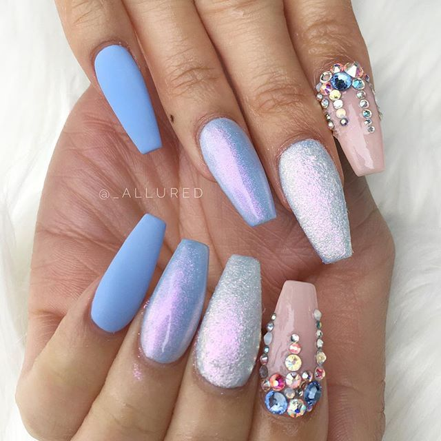 coffin nails sky blue photo - 2