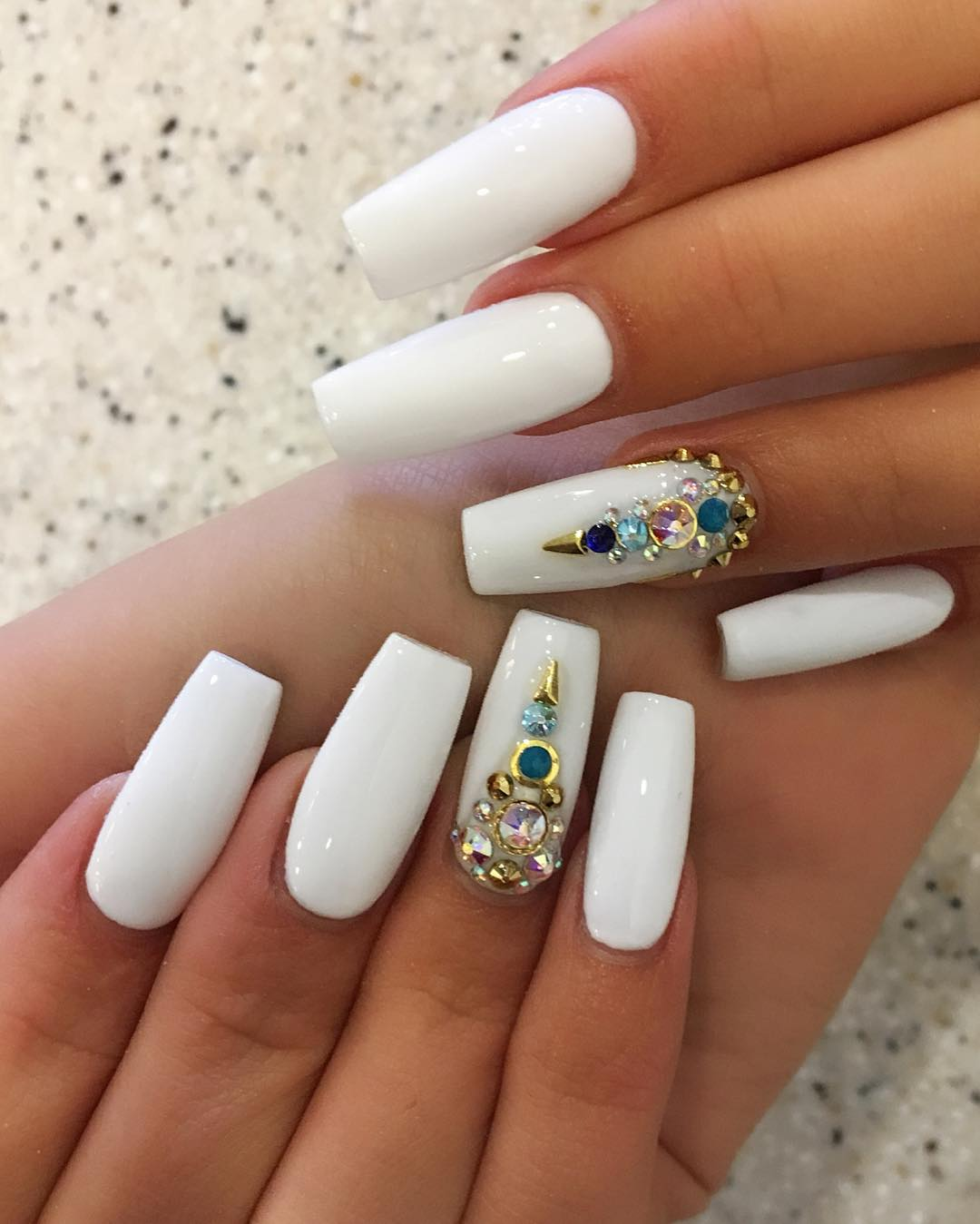 coffin nails with gems photo - 2