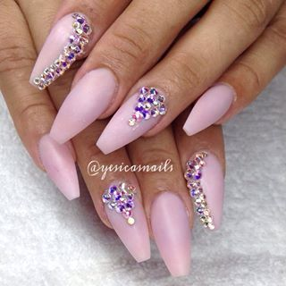 coffin nails with rhinestones photo - 1