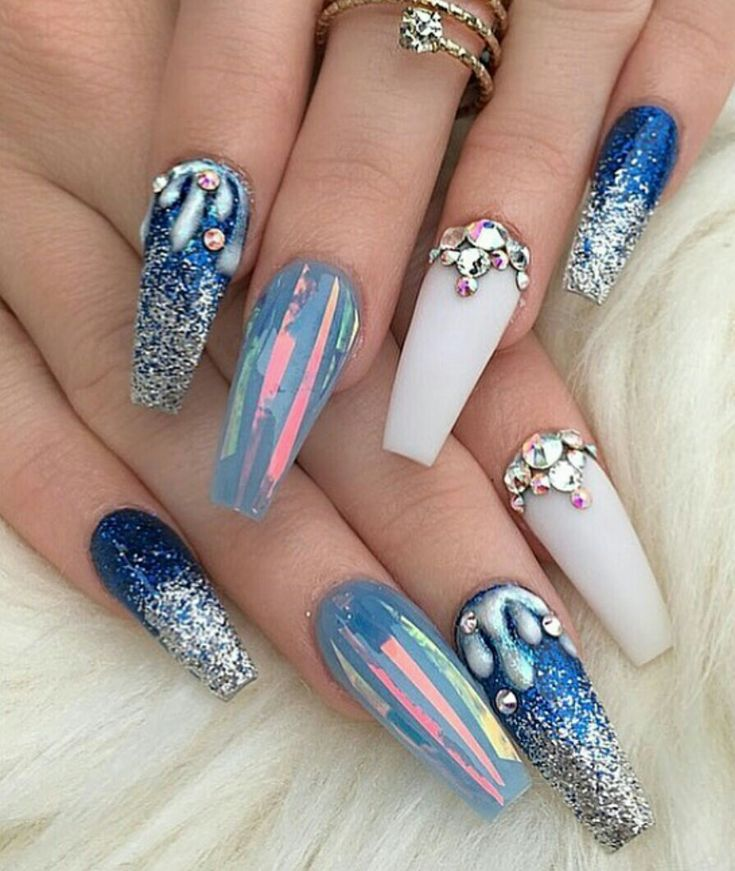 coffin nails with rhinestones photo - 2