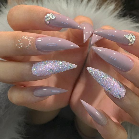 coffin natural acrylic nails with glitter photo - 2