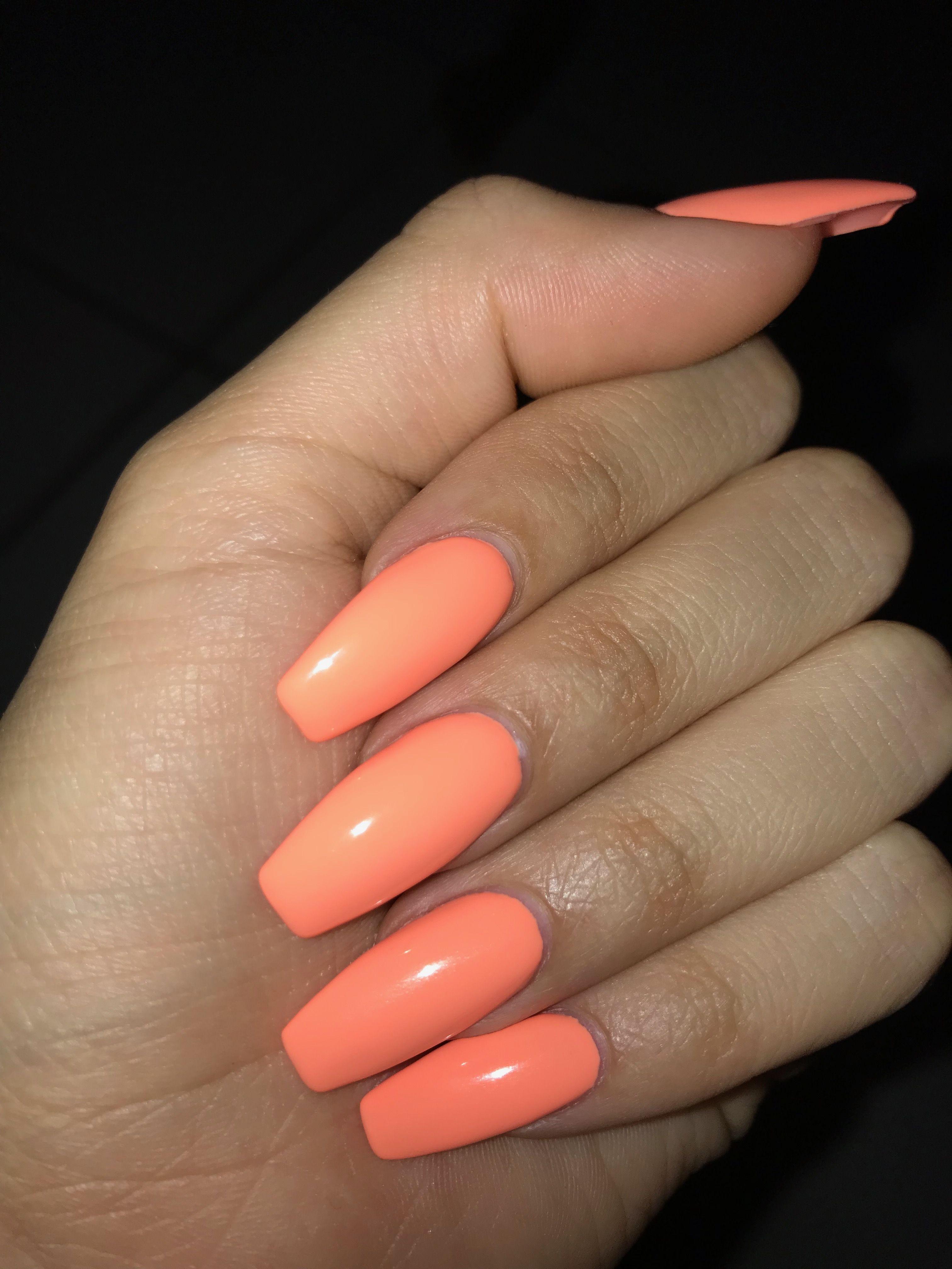 coffin peach acrylic nails photo - 2