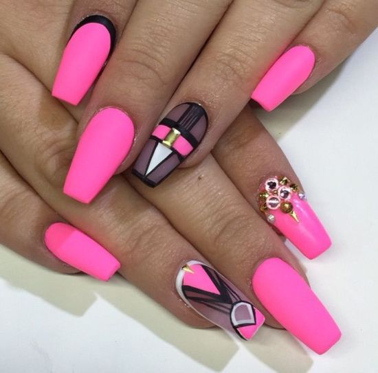 coffin pink nails photo - 2