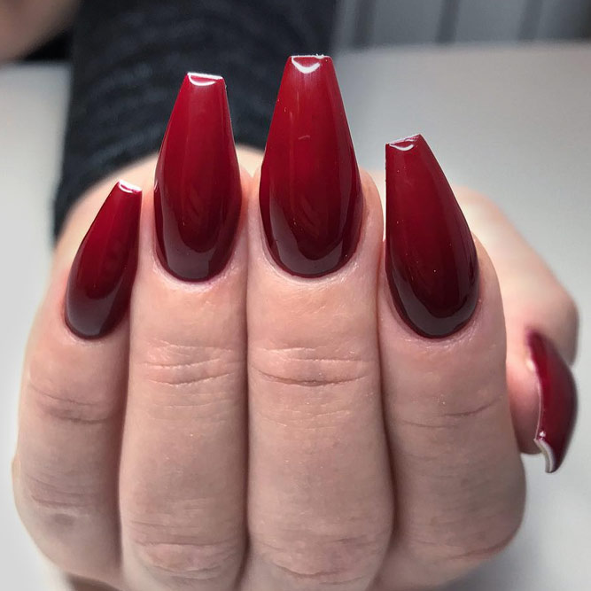 Coffin shape red nails - New Expression Nails