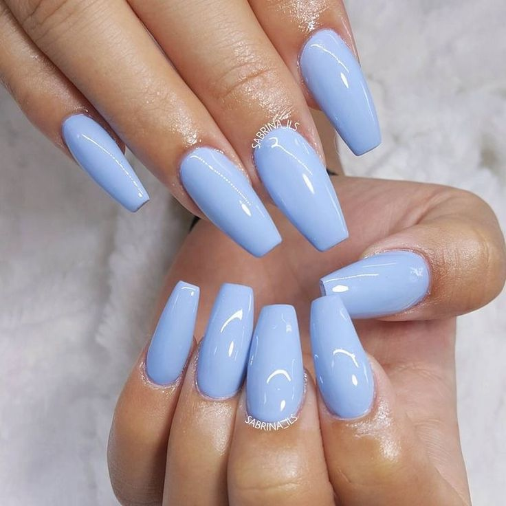 Coffin shaped acrylic nails baby blue - New Expression Nails