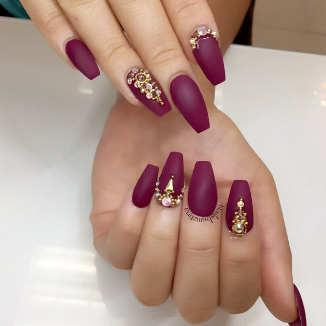 coffin shaped burgundy nails photo - 1