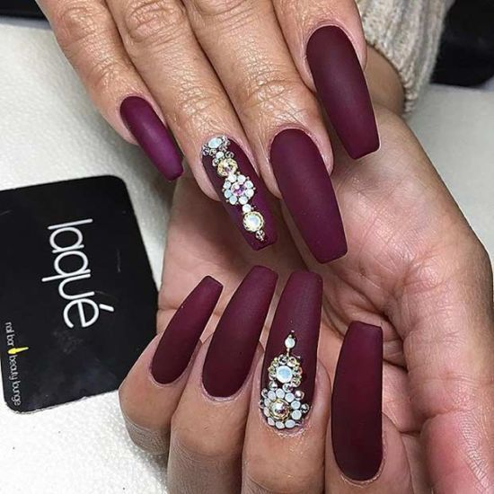 coffin shaped burgundy nails photo - 2