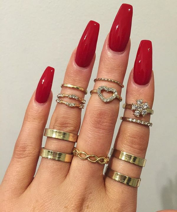 Coffin shaped long nails , New Expression Nails