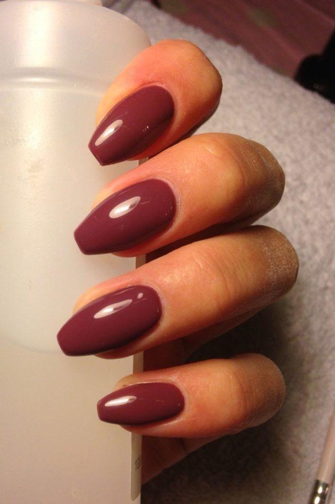 Coffin shaped maroon nails - Expression Nails