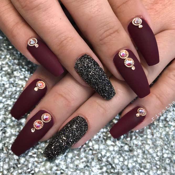 coffin shaped maroon nails photo - 2