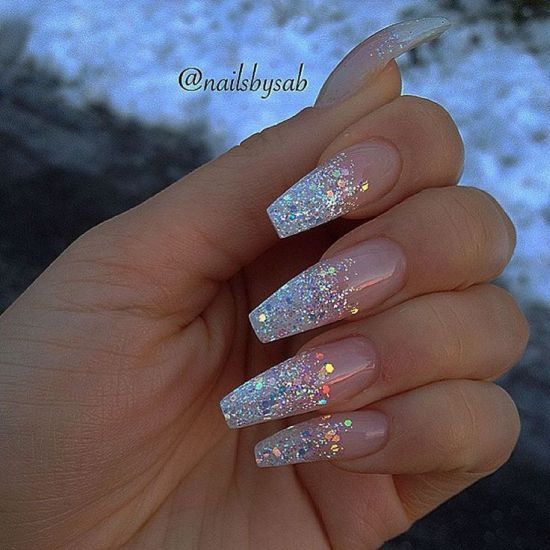 Coffin shaped nails glitter , New Expression Nails