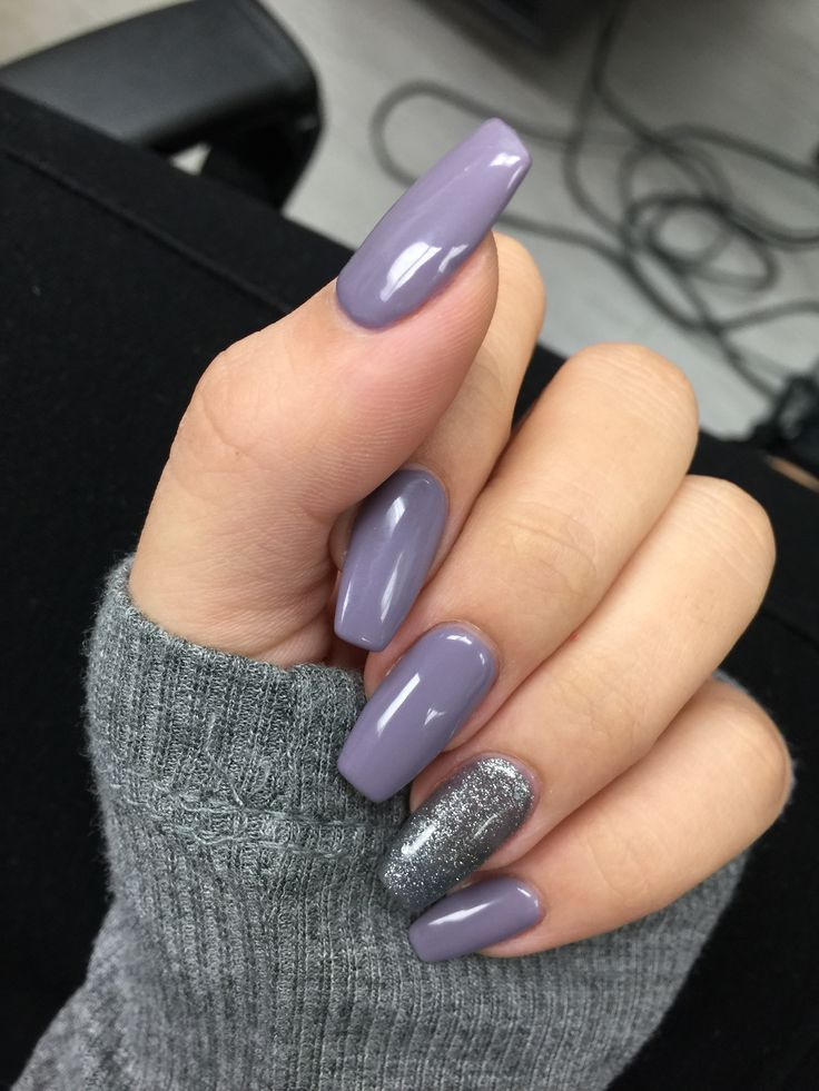 coffin shaped nails grey photo - 2