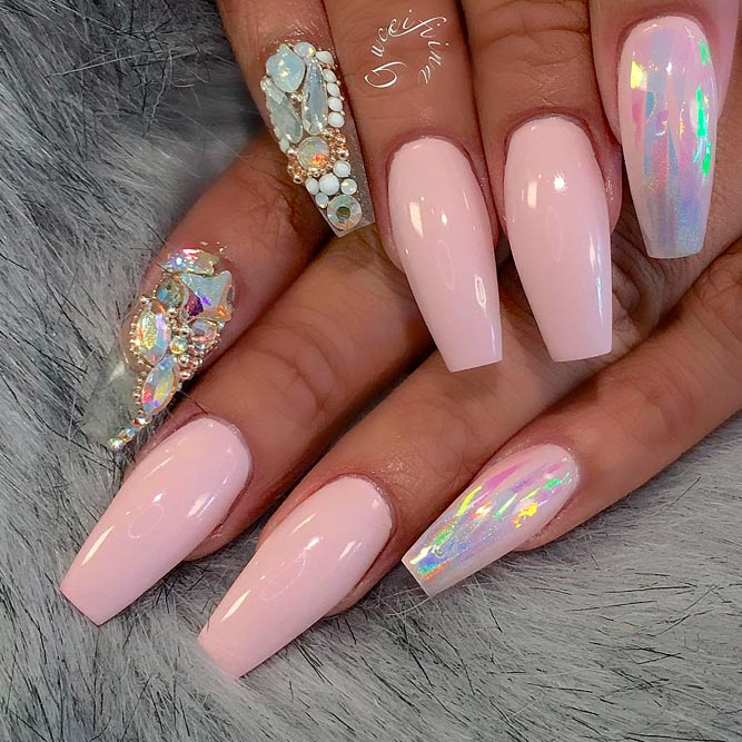 Coffin shaped nails with rhinestones , New Expression Nails