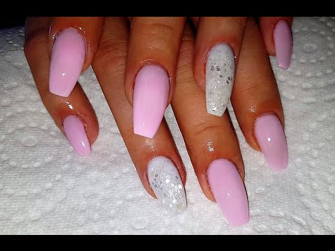 coffin shaped pink and white nails photo - 1