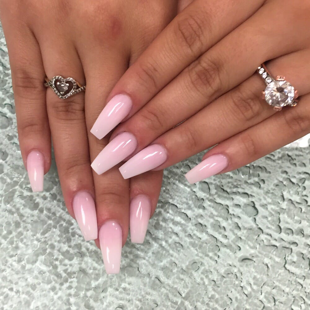coffin shaped pink and white nails photo - 2