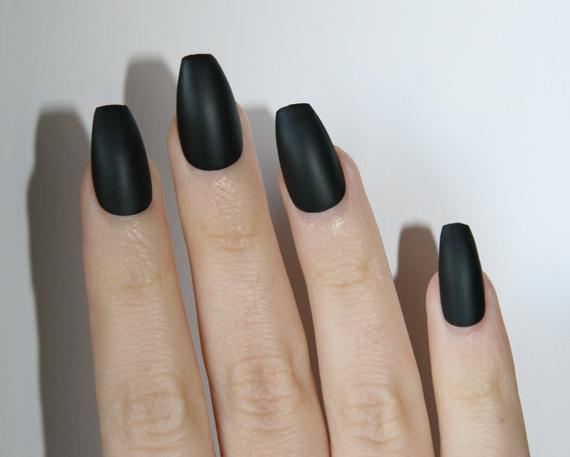 coffin shaped stick on nails photo - 2