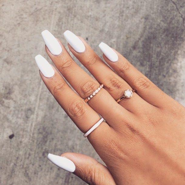 coffin white nails photo - 1