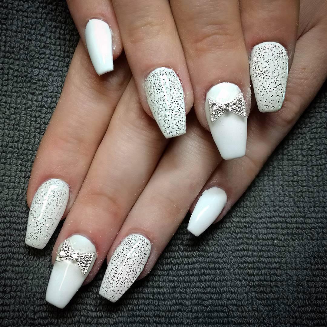 coffin white nails photo - 2
