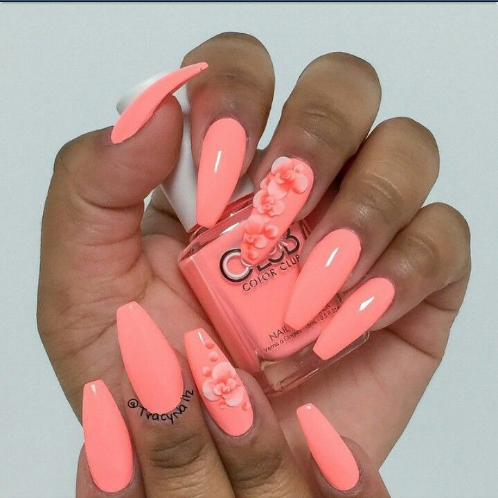 coral coffin nails photo - 1