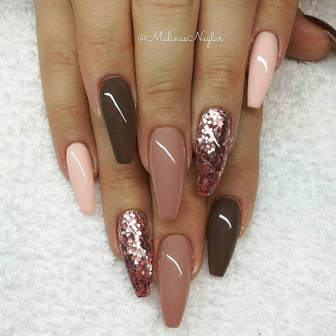 cute fall nails coffin shape photo - 1