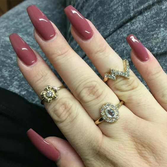 cute fall nails coffin shape photo - 2