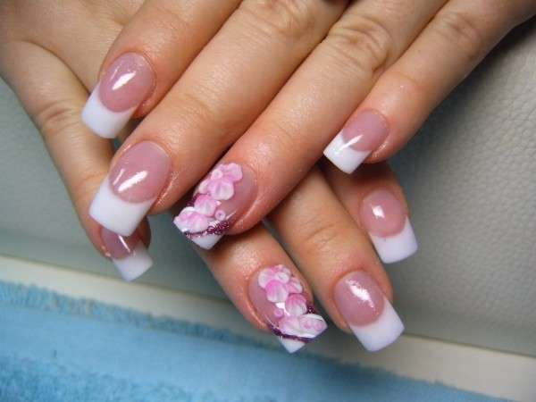 cute french tip acrylic nails or girls photo - 1