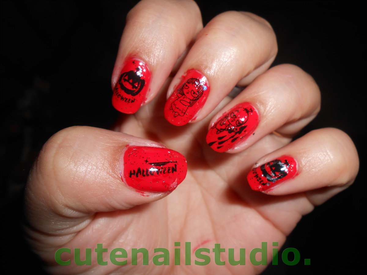 cute halloween nail designs for short acrylic nails with white tips photo - 1