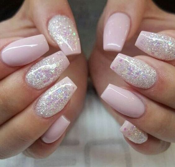 cute nails coffin pink with glitter nail photo - 1