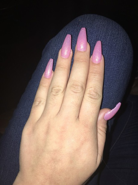 cute nails coffin pink with glitter nail photo - 2