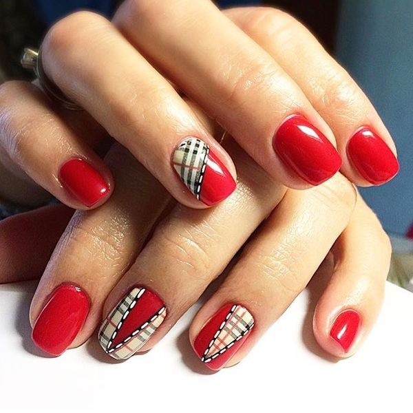 dark blue and red acrylic nails short photo - 2