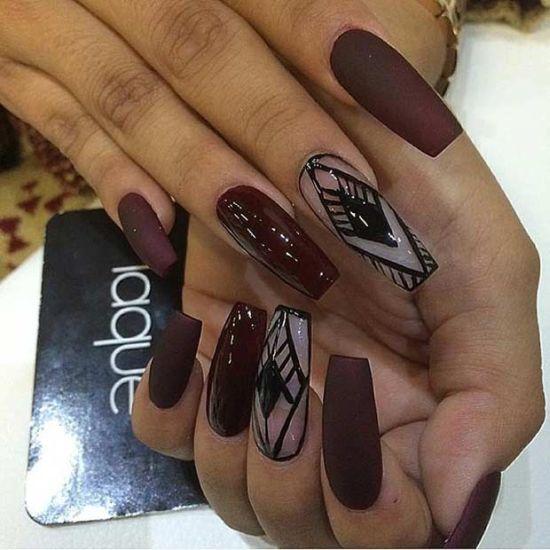dark burgundy coffin nails photo - 1