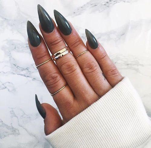 dark green stiletto nails photo - 1