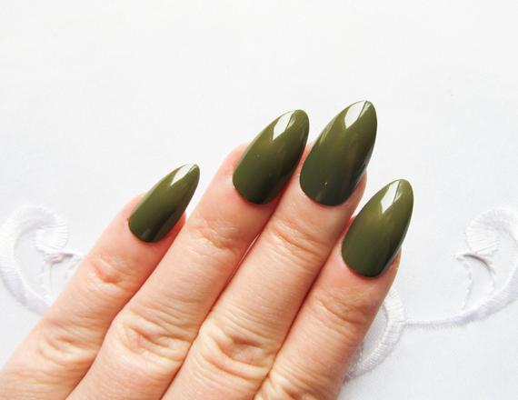 dark green stiletto nails photo - 2