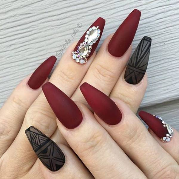 Dark Red Coffin Nails Photo