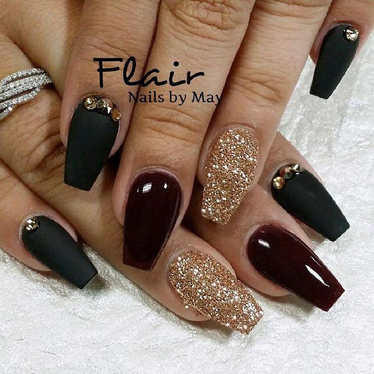 dark red coffin nails for birthday photo - 1