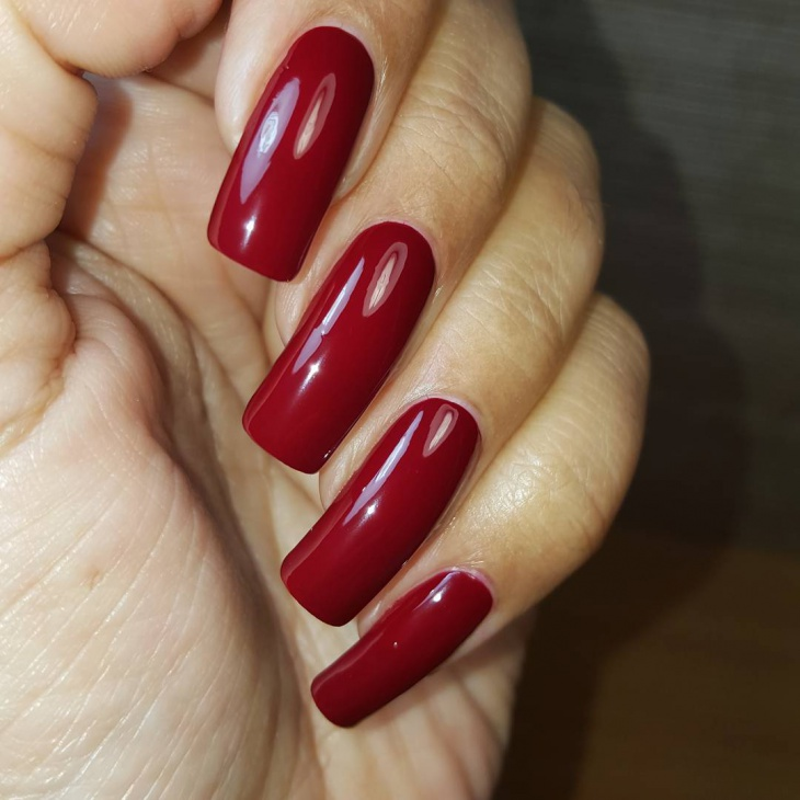 Dark red gel nails - Expression Nails