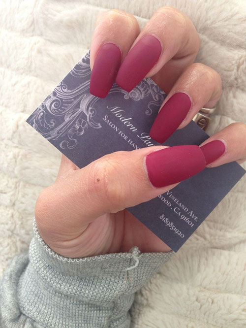 dark red stiletto matte nails photo - 1