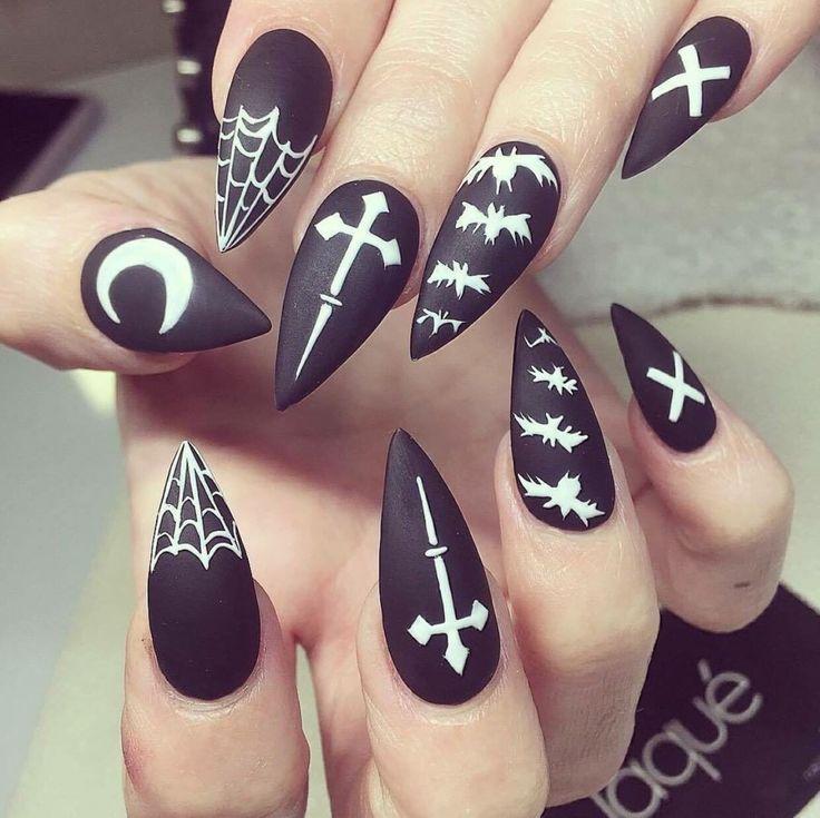 dark red stiletto matte nails photo - 2