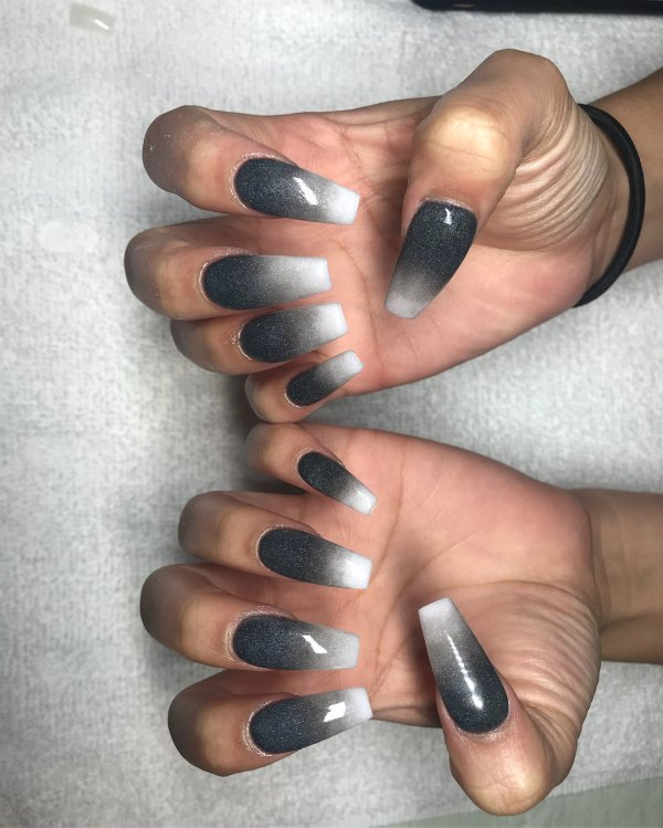 design on white acrylic nails with design photo - 2