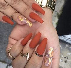 fall coffin shaped nails photo - 2