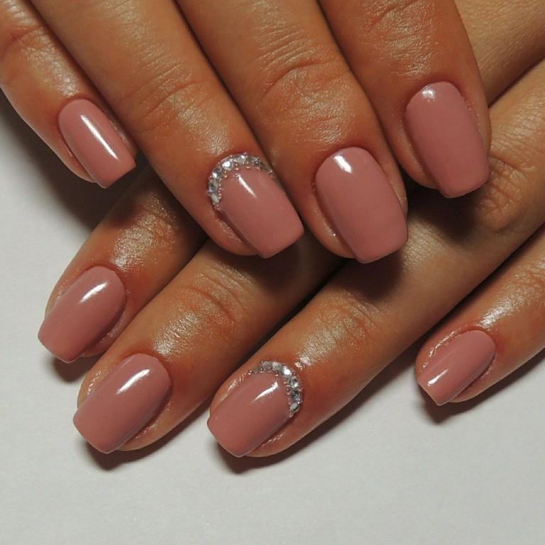 fall gel nails beige photo - 1